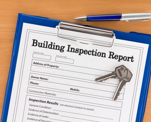 A building inspection report about to be completed